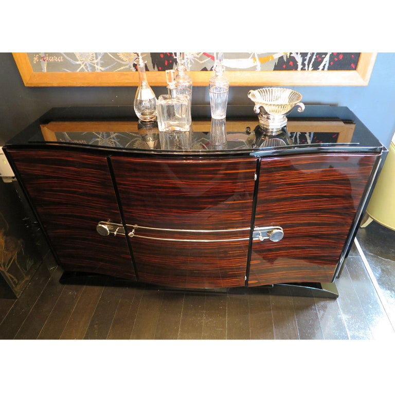 French Bowed Art Deco Sideboard in Macassar with Original Nickel Hardware For Sale