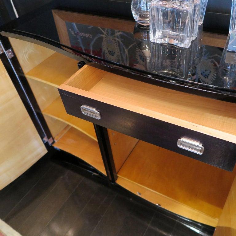 Bowed Art Deco Sideboard in Macassar with Original Nickel Hardware For Sale 3