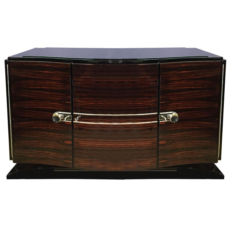Bowed Art Deco Sideboard in Macassar with Original Nickel Hardware For Sale