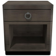 Davidson's Contemporary, Bowery Bedside Table, in High Gloss Sycamore Dusk Wood