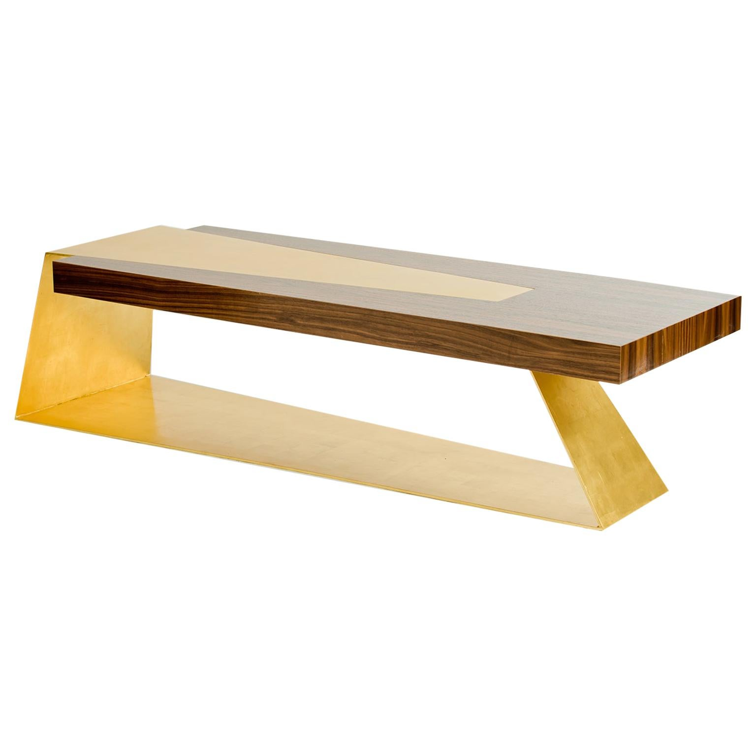 Bowery Bench or Coffee Table, Walnut and Gold Leaf, by Dean and Dahl