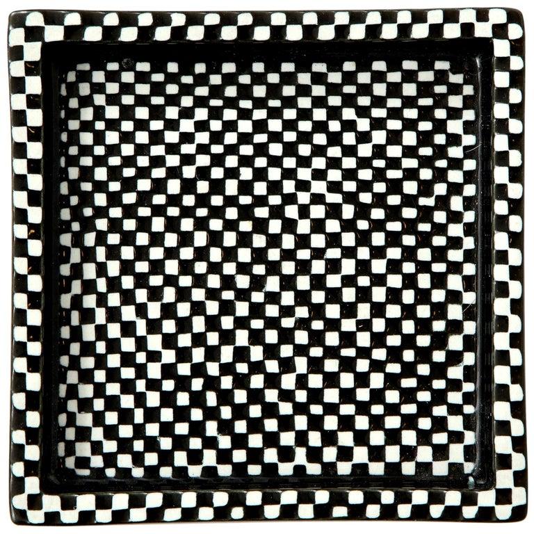 Bowl by Stig Lindberg, Scandinavian Midcentury, Black and White, Vintage For Sale