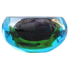Bowl Flavio Poli for Seguso Midcentury Italian Design Murano Multi-Color