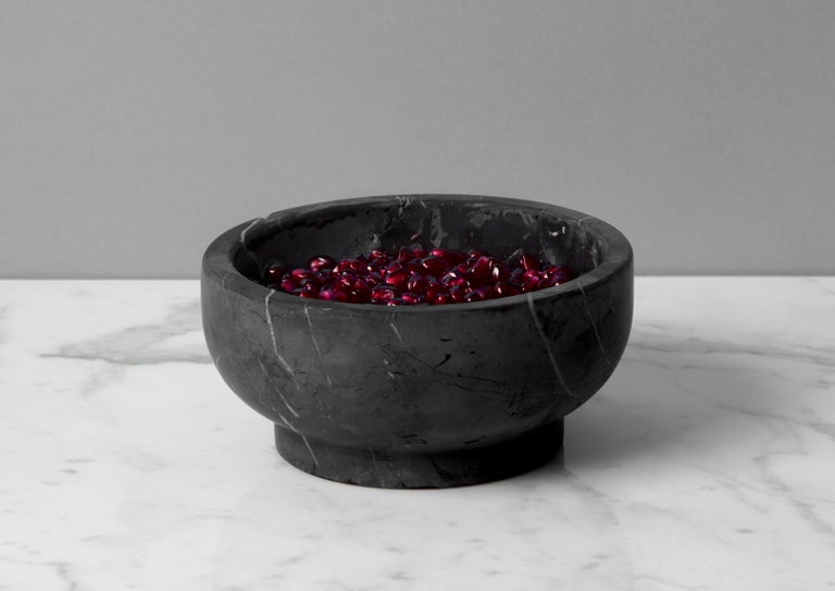 Bowl in Black Marquinia Marble by Cristoforo Trapani, Italy, in stock For Sale 2