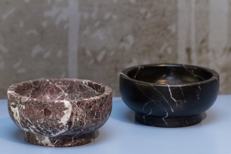 Contemporary Bowl in Black Marquinia Marble by Cristoforo Trapani, Italy, in stock For Sale