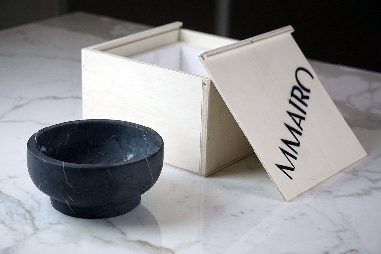 Bowl in Black Marquinia Marble by Cristoforo Trapani, Italy, in stock For Sale 3