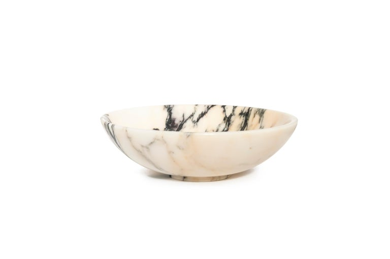 Hand-Crafted Bowl in Paonazzo Marble For Sale