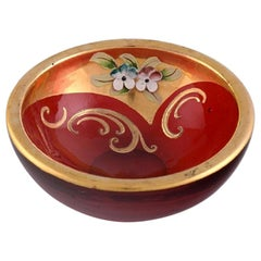 Bowl in Red Mouth-Blown Art Glass with Hand-Painted Flowers and Gold Decoration