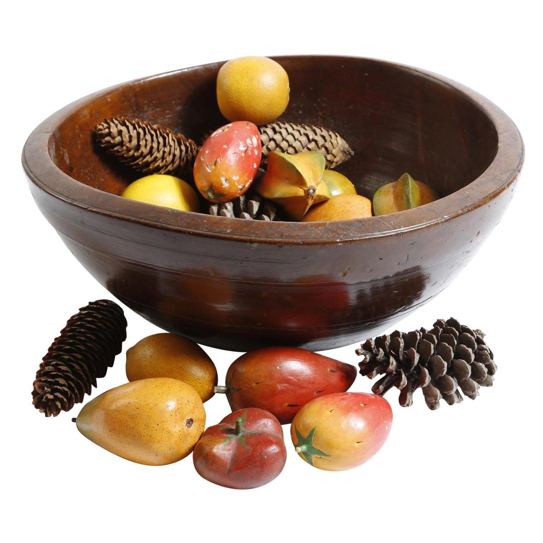Bowl Large Dairy Fruitwood Folk Vernacular, 18th Century