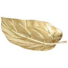 Bowl, Leaf Shape, Midcentury Italian, Brass, circa 1950, Polished Brass