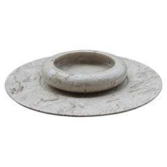 Bowl Round Plate in Gray Marble Italian Minimalist Design 1970s Original Label