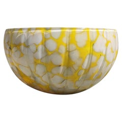 Bowl TOTEM Yellow, Unique 21 Century, Blown Glass and Ceramic Handmade Bowl