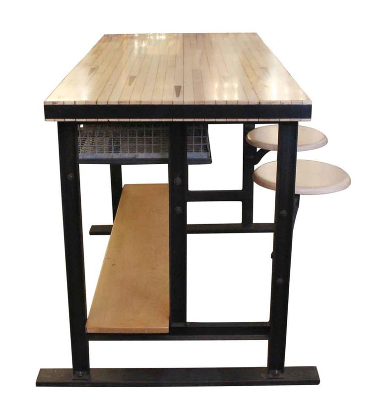 Bowling Alley Top Kitchen Island with Steel Wire Bins and ...