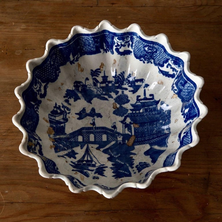 Glazed Bowls Two Swedish Rörstrand Porcelain 19th Century Blue and White, Sweden For Sale
