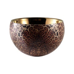 BOWLS55, Ceramic Bowl Leopard Decorated, Handcrafted in Bronze by Gabriella B.