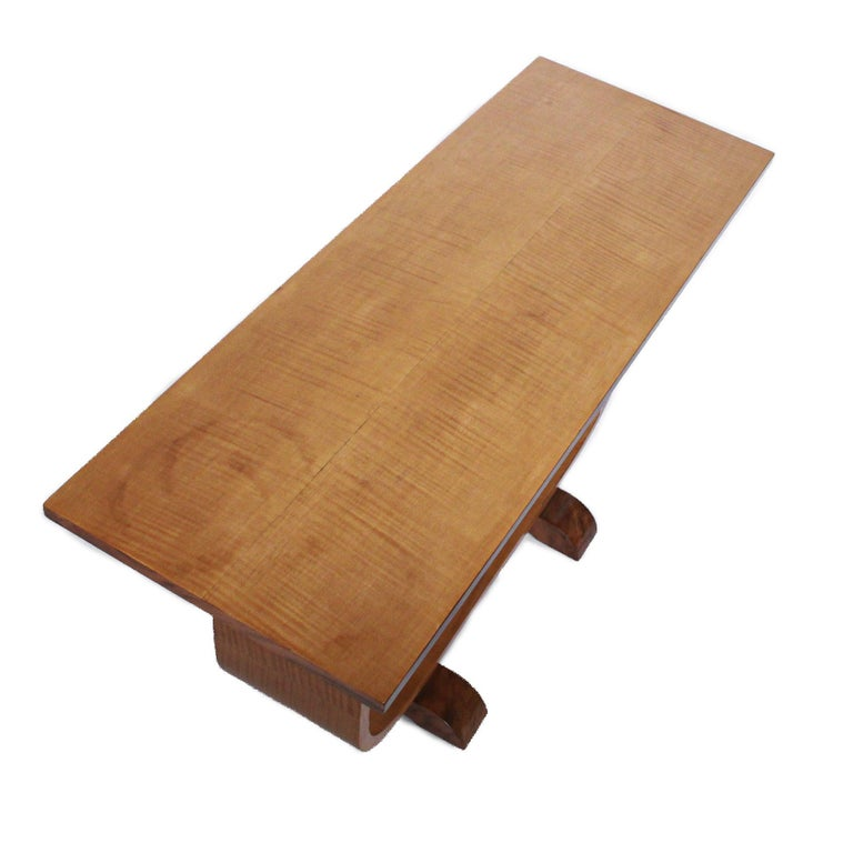 English Art Deco Coffee Table by Bowman Brothers Ltd Satin Birch with Walnut 1930 For Sale