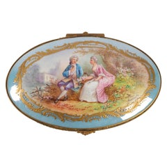 Box, 19th Century, Napoleon III Period, Porcelain and Brass Mounting