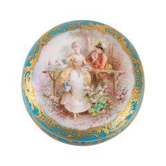 Box, Box Set, 19th Century, Napoleon III Period, Porcelain and Brass Frame