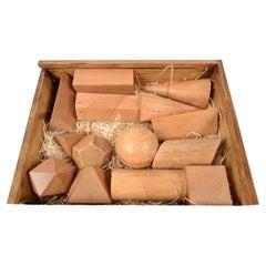 Box Containing 14 Dismountable Wooden Geometric Solids Italy Vallardi, 1963