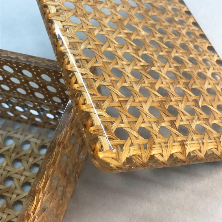 Box in Lucite and Wicker, Italy, 1970s Vienna Straw.  Christian Dior Style 1970 For Sale 5