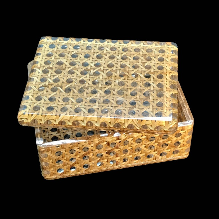 Box in Lucite and wicker, Italy, 1970s. Christian Dior Style 1970