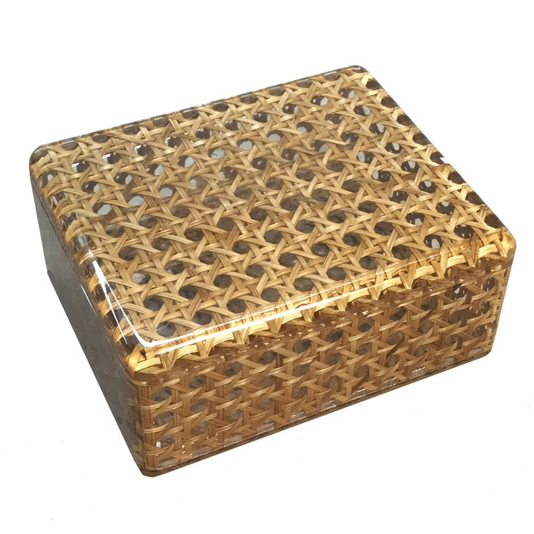Mid-Century Modern Box in Lucite and Wicker, Italy, 1970s Vienna Straw.  Christian Dior Style 1970 For Sale