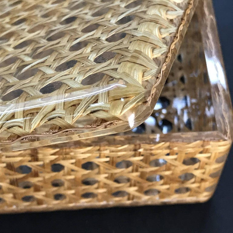 Box in Lucite and Wicker, Italy, 1970s Vienna Straw.  Christian Dior Style 1970 For Sale 2