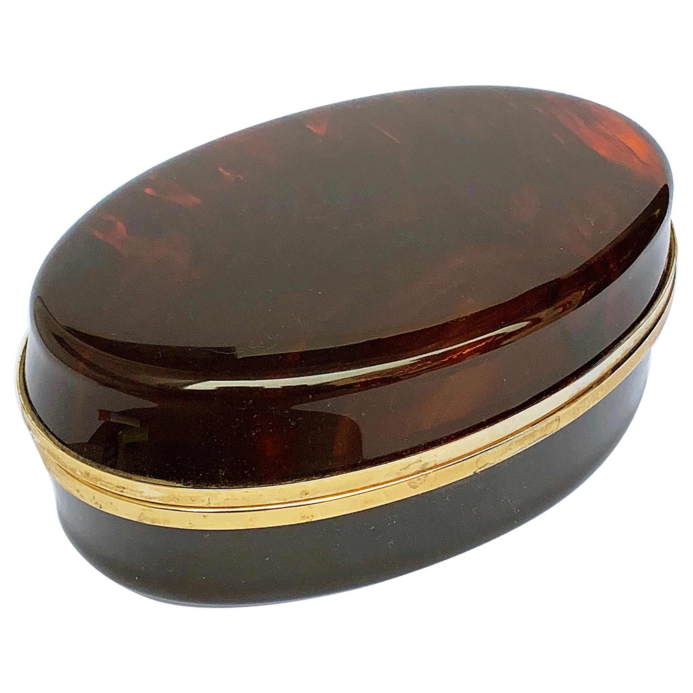 Box in Lucite, tortoiseshell effect and brass, Christian Dior 1970