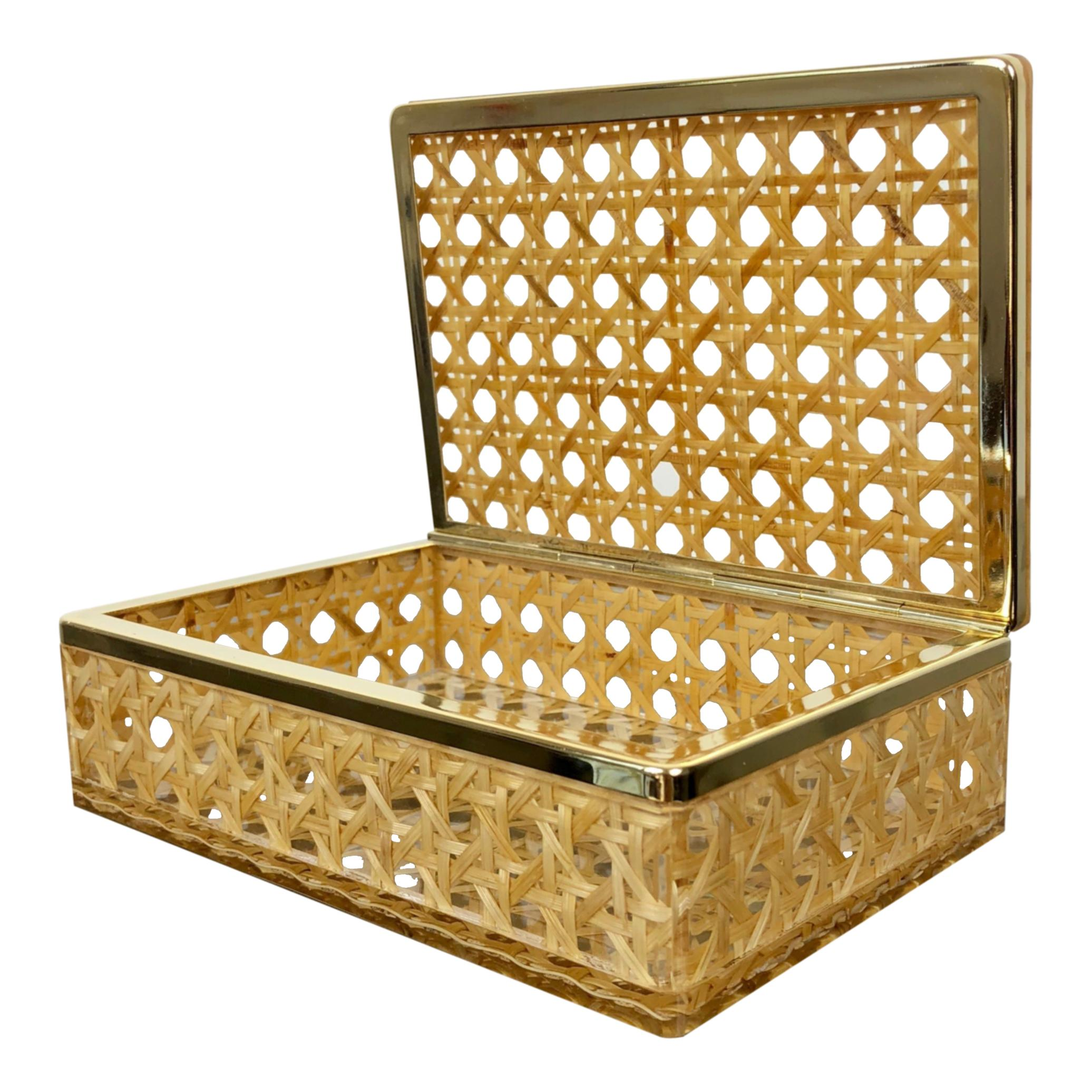 Box in Lucite, Wicker Rattan and Brass in Christian Dior Style, Italy