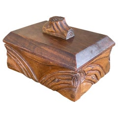 Box in Wood Art Nouveau France 1920, Signed