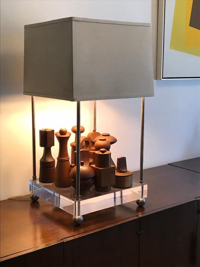 Plated 'Box-Line' Showcase Lamp, 1980s For Sale