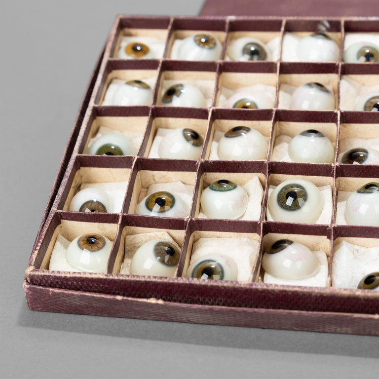 Box of 50 Blown Glass Eyes, circa 1920 1