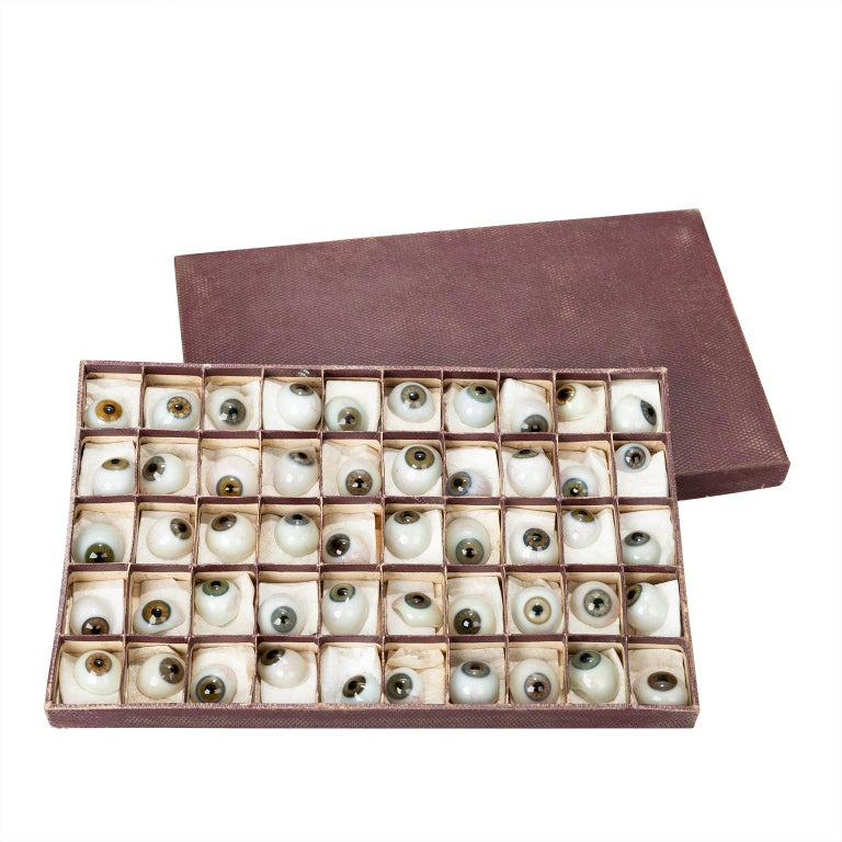 Box of 50 Blown Glass Eyes, circa 1920 For Sale