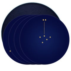 "Box of Four Dinner Plates, Constellation de la Victoire, ""Bleu de Four"" Color,"
