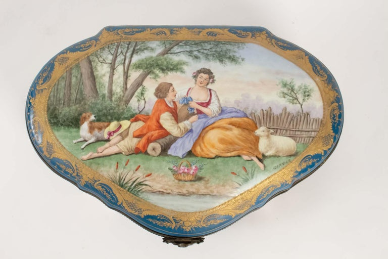 Napoleon III Box Porcelain, Signed, Decorated Inside and Outside, 19th Century For Sale