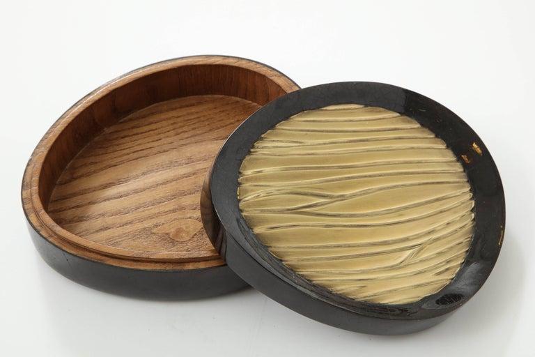 French Box, Black Sea Shell and Brass Box, Organic Shape, Decorative Box, Contemporary For Sale