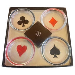Box Set of Four MCM Poker / Cards Glass Coasters or Ashtrays by Federal Glass Co
