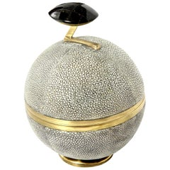 Box, Shagreen and Brass, Gray, Art Deco Style, Decorative Box, Contemporary