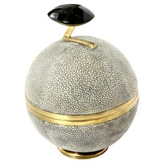 Box, Shagreen and Brass, Gray, Art Deco Style, Decorative Box, in Stock