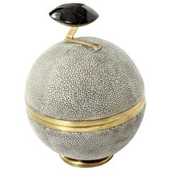 Box, Shagreen and Brass, Gray, Art Deco Style, Great Gift, in Stock