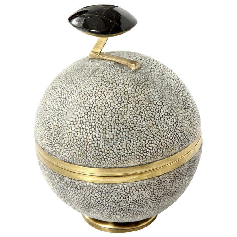 Box, Shagreen and Brass, Gray, Art Deco Style, Great Gift, in Stock For Sale
