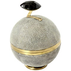 Box, Shagreen and Brass, Gray, Art Deco Style, in Stock, Great Gift
