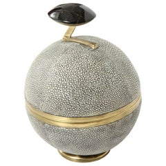 Box, Shagreen and Bronze, Gray, Art Deco Style, in Stock