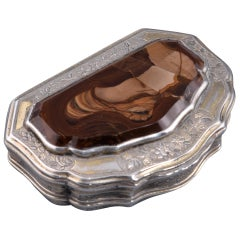 Box. Silver, Agate, 19th Century, with Hallmarks