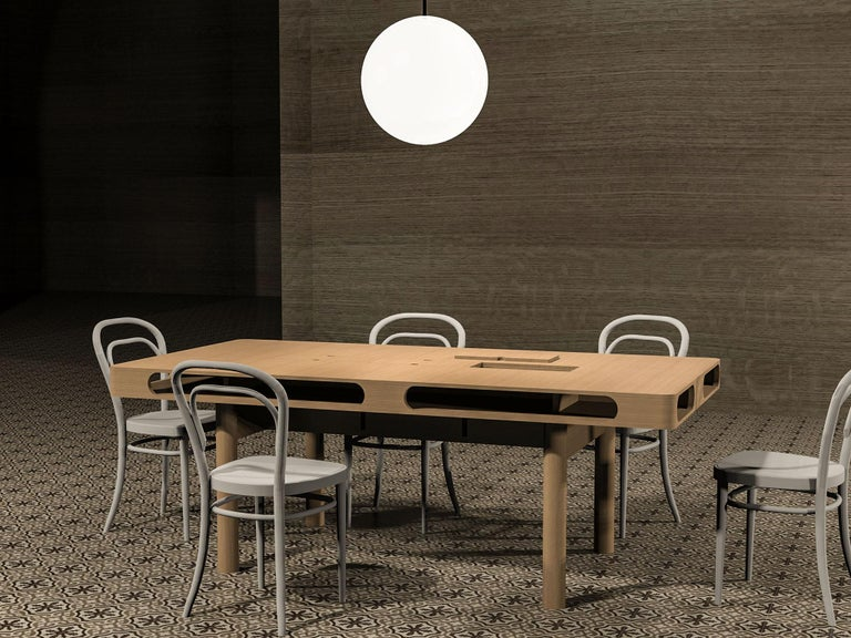 Wood Box Table in White Oak for Dining or Conference For Sale