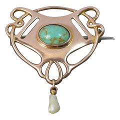Boxed Art Nouveau 9 Carat Rose Gold Turquoise and Pearl Brooch