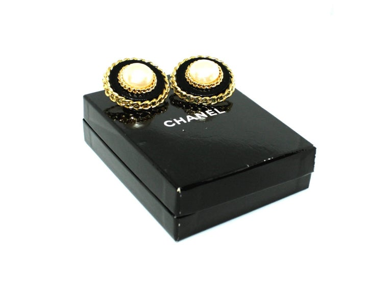 Contemporary Boxed Large Clip Earrings by Chanel For Sale