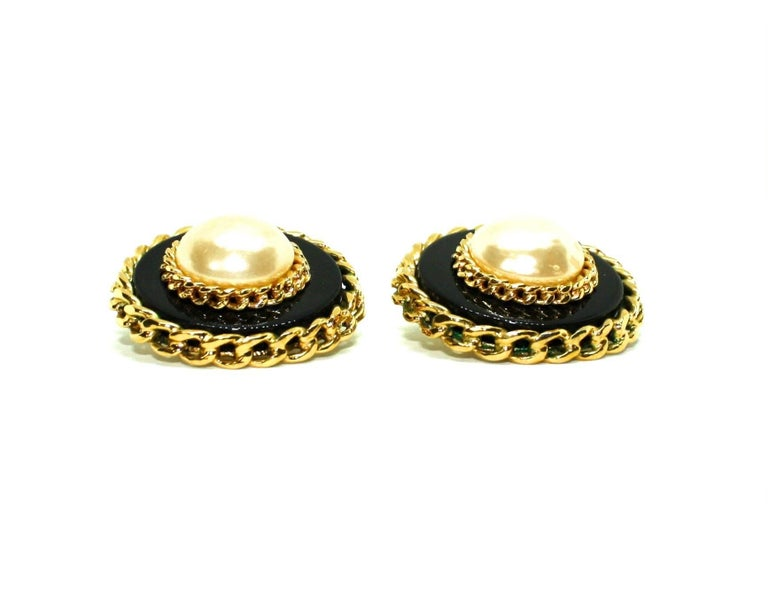 Boxed Large Clip Earrings by Chanel In Good Condition For Sale In Rushden, GB