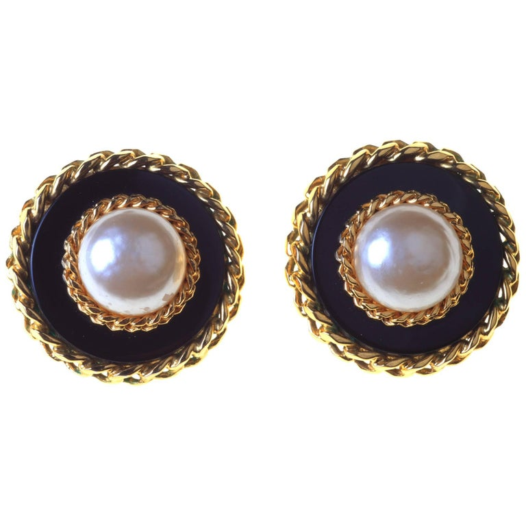 Boxed Large Clip Earrings by Chanel For Sale