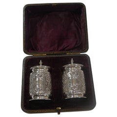 Boxed Pair of Antique English Sterling Silver Pepper Pots, 1894